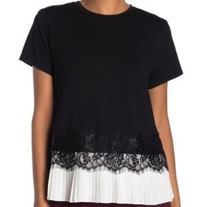 Laundry by Shelli Segal Pleated Lace Trim Top
